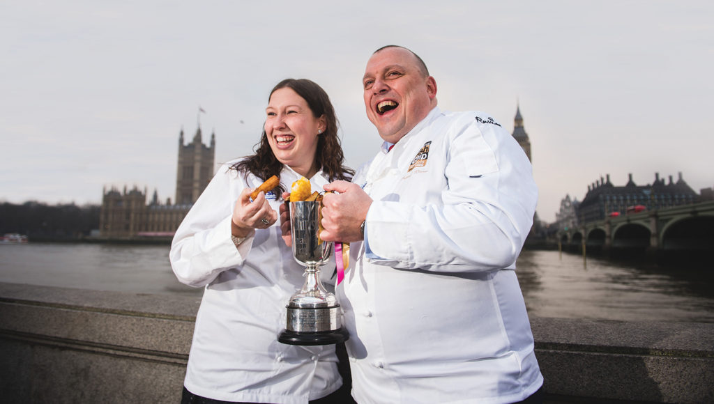 Pictured are Craig Maw, 49, with partner Nikki Mutton, 29, from Kingfisher Fish and Chips in Plymouth, who are the 'UK's best fish and chip takeaway' - winner of the Independent Takeaway Fish and Chip Shop of the Year Award at the 2017 National Fish & Chip Awards.